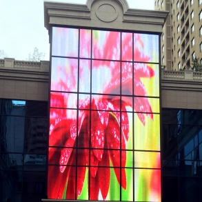 LED Display Mesh Over Glass