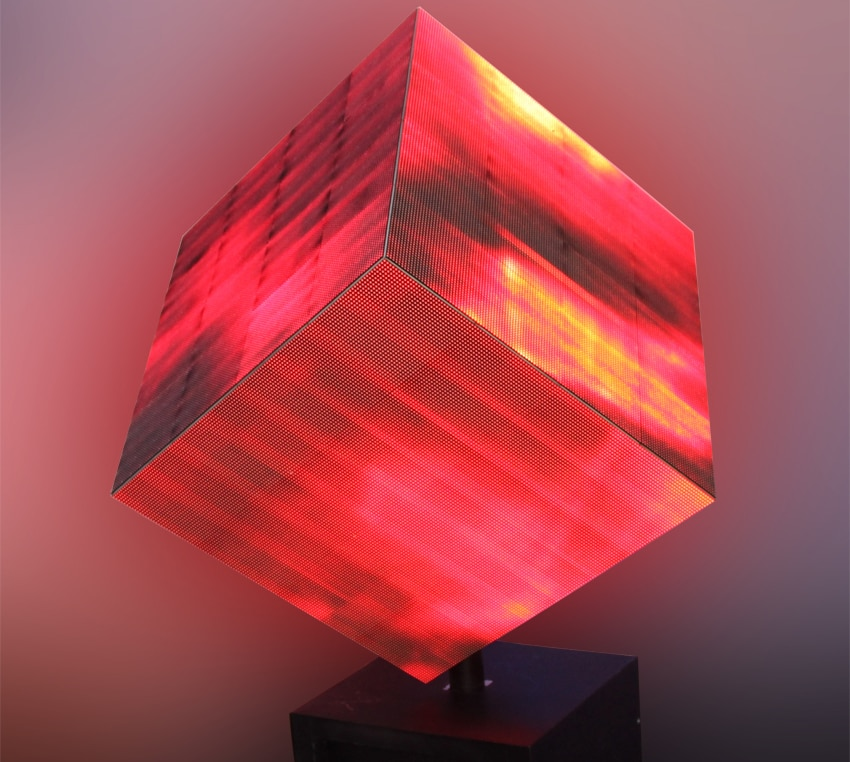 Affichage cube personnalisable de taille et de lancement de pixel