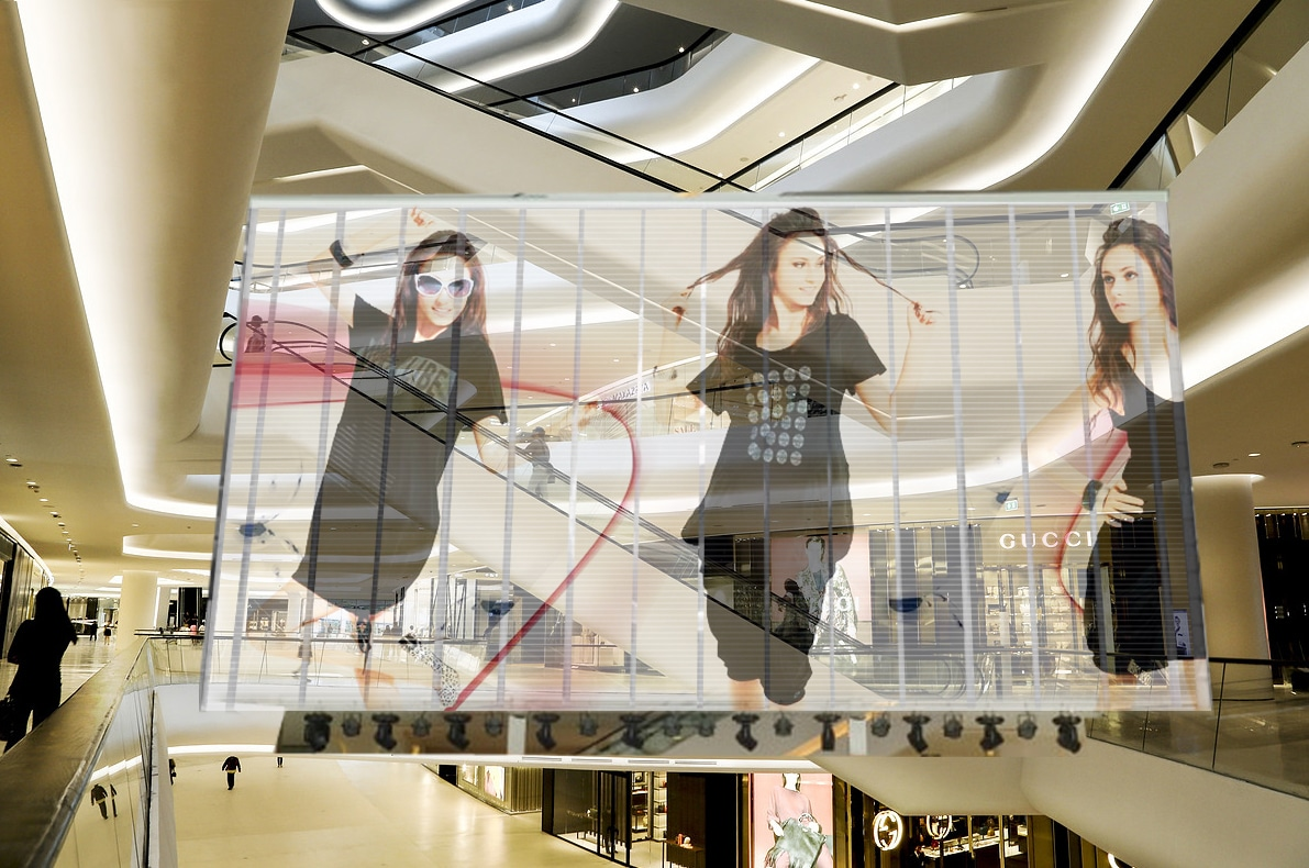 transparent led display in shopping centers