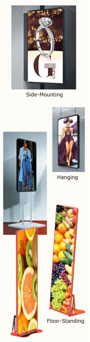 LED Poster Display side-mounting, hanging, floor-standing