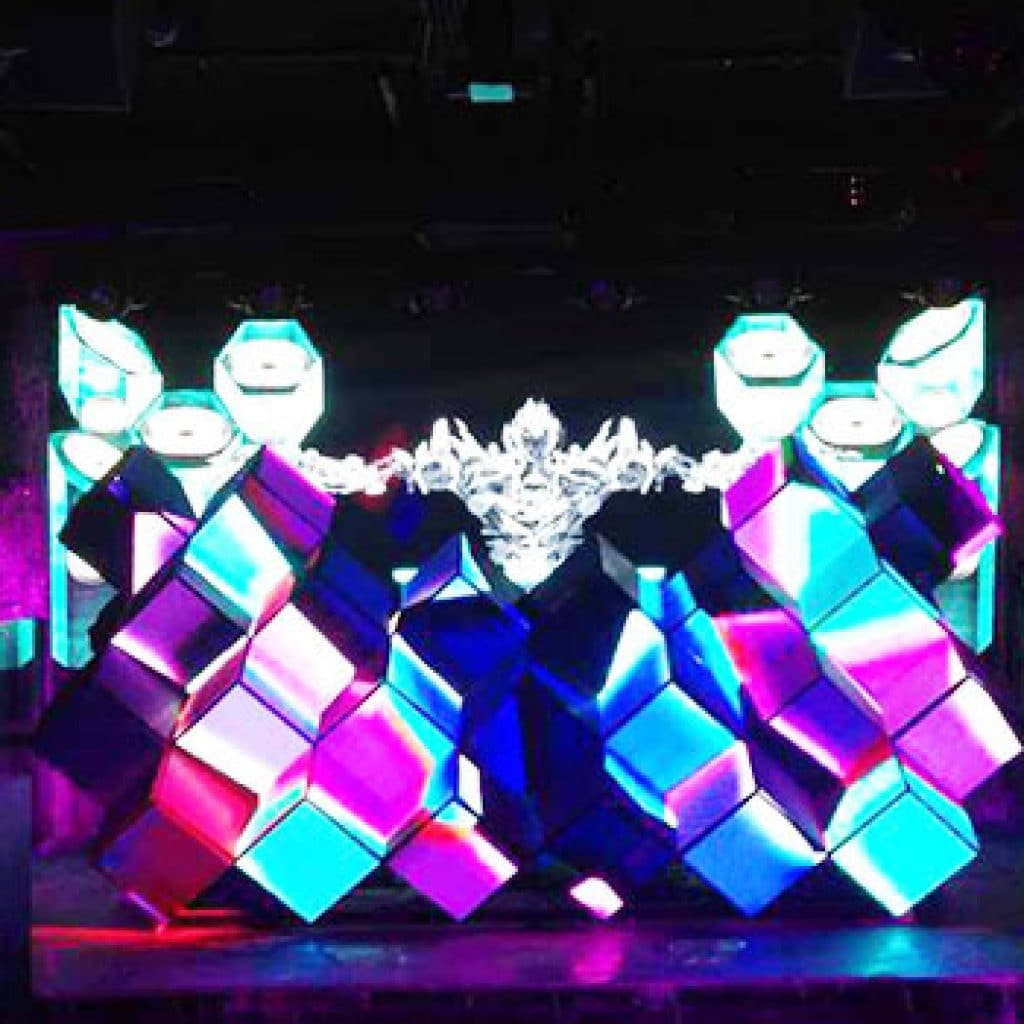 intriguing 3D effect square shaped HD LED Video DJ Booth—Cube Box