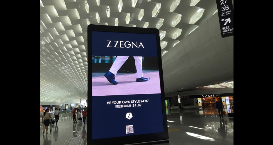 luchthaven digitale reclame in luchthaventerminal