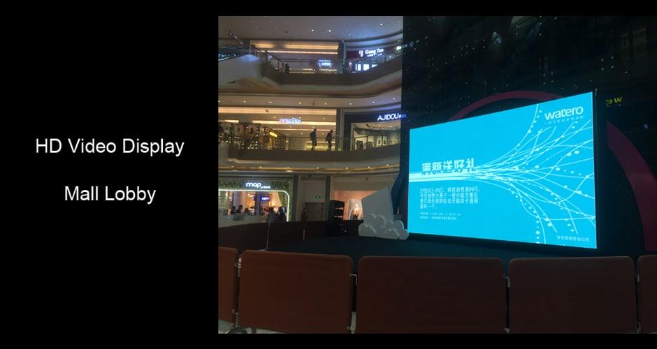 wyświetlanie wideo HD w holu centrum handlowego