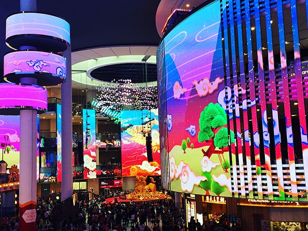Curved and strip creative led screen in shopping mall