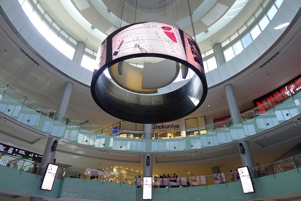LED Cylinder Screen in Mall