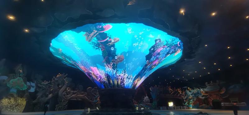 Cone shape creative led screen in resort