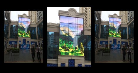 led media facade delivering colorful video content