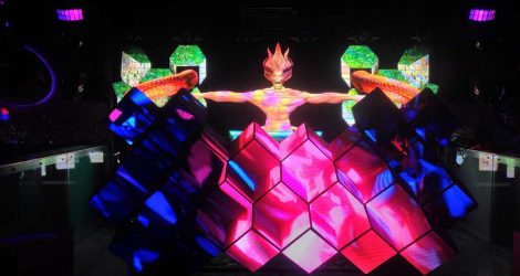creative shape led video dj booth