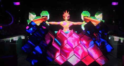 creative shape led video dj booth